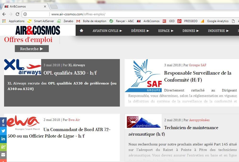 Diffusion d'offres d'emploi, le dispositif web d'Air et Cosmos associe média et réseaux sociaux.