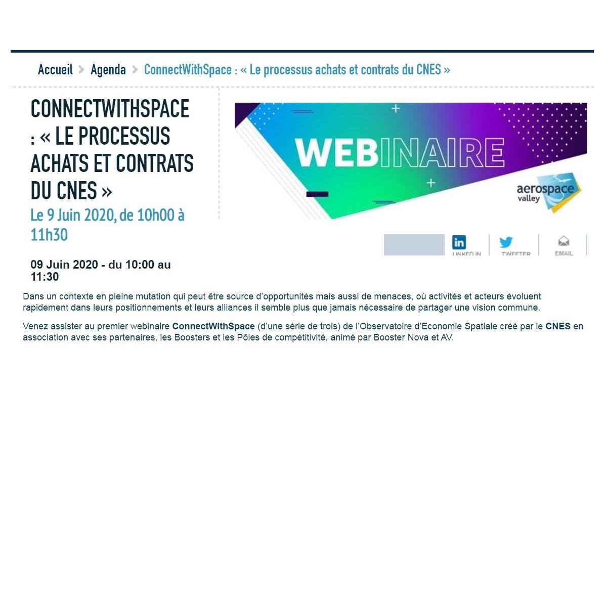 ConnectWithSpace : « LE PROCESSUS ACHATS ET CONTRATS DU CNES », webinaire le 9 Juin 2020, de 10h00 à 11h30