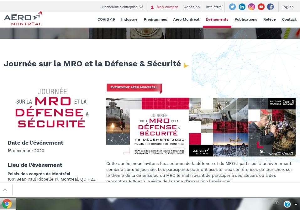Journée sur la MRO et la Défense & Sécurité, Montréal, le 16 décembre 2020