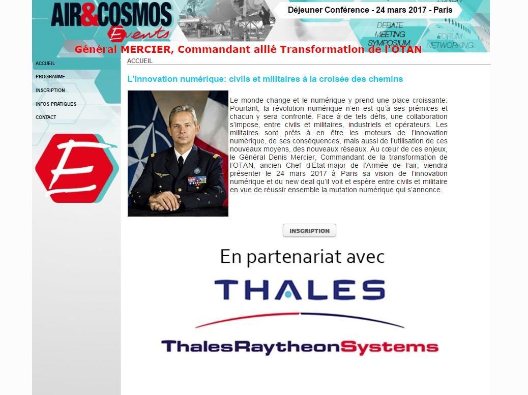 Déjeuner-Conférence Air et Cosmos le 24 mars avec le Général Mercier, Commandant allié Transformation OTAN
