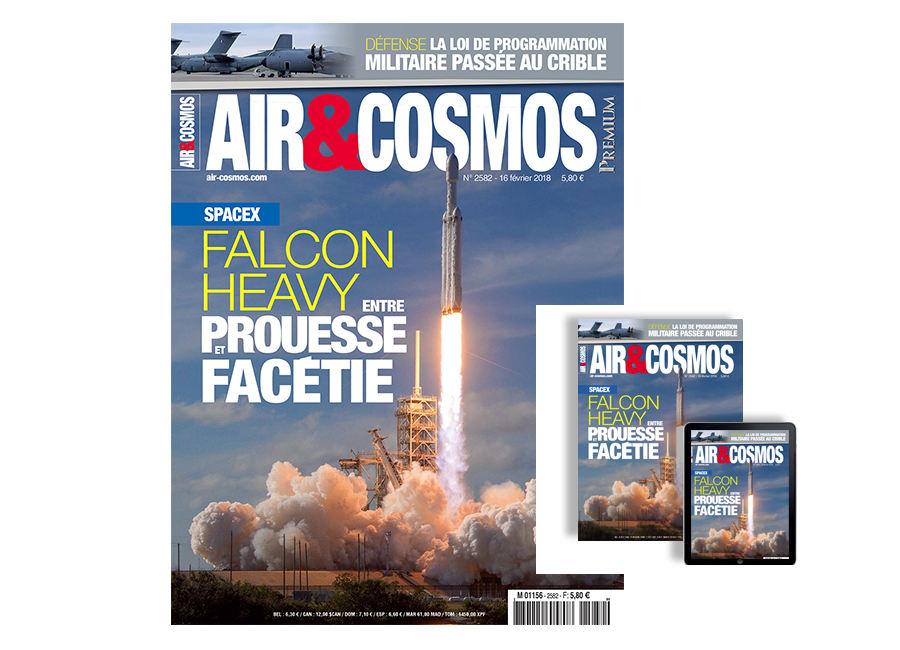 SpaceX Falcon Heavy, LPM, Emirates France, Airbus BizLab, drones Male, cette semaine dans Air et Cosmos magazine.