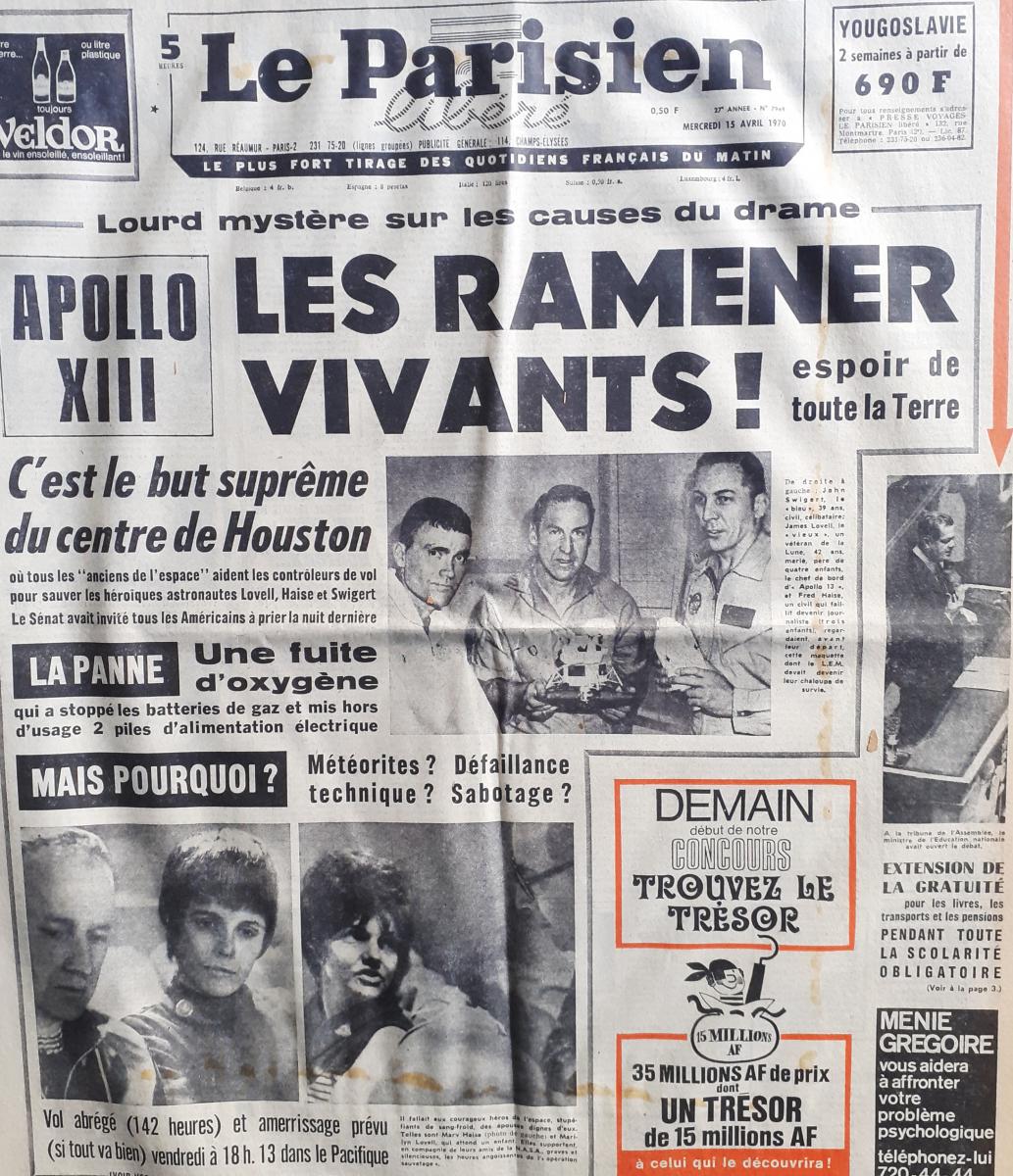 Le drame Apollo 13 à travers les médias français