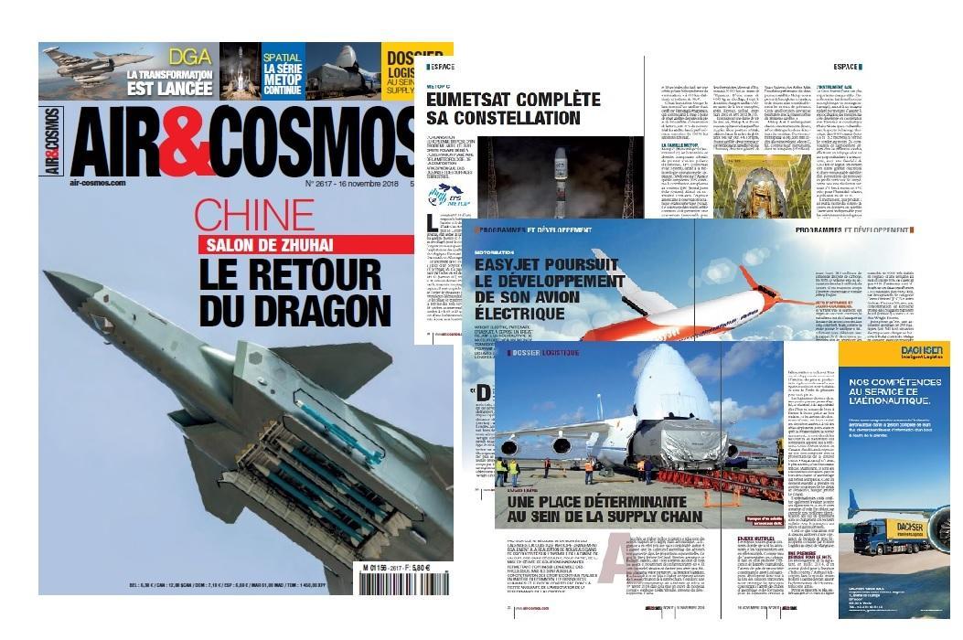 Logistique, easyJet et son avion électrique, Eumetsat, Salon de Zhuhai, DGA, cette semaine dans Air et Cosmos