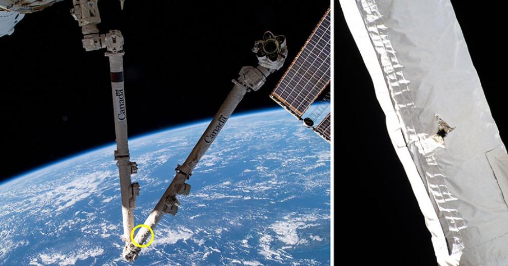 Le bras de la Station spatiale internationale perforé