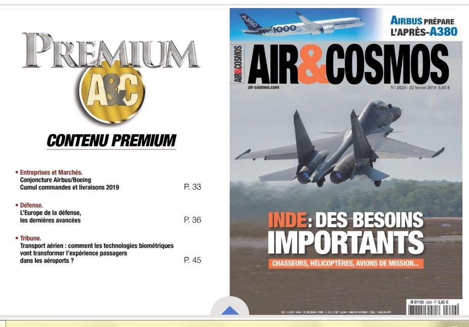 Commandes Airbus et Boeing, Europe de la Défense, biométrie et aéroports, dans Air et Cosmos Premium
