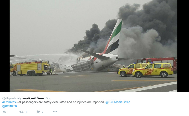 Un Boeing 777 d'Emirates se vautre à l'atterrissage