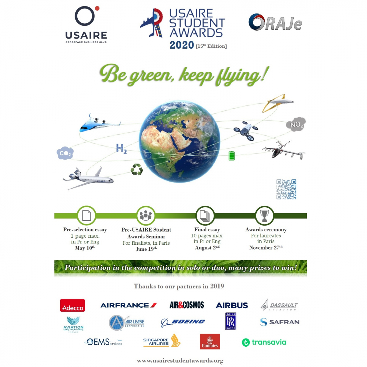 « Be green, Keep flying ! » : USAIRE Student Awards 2020