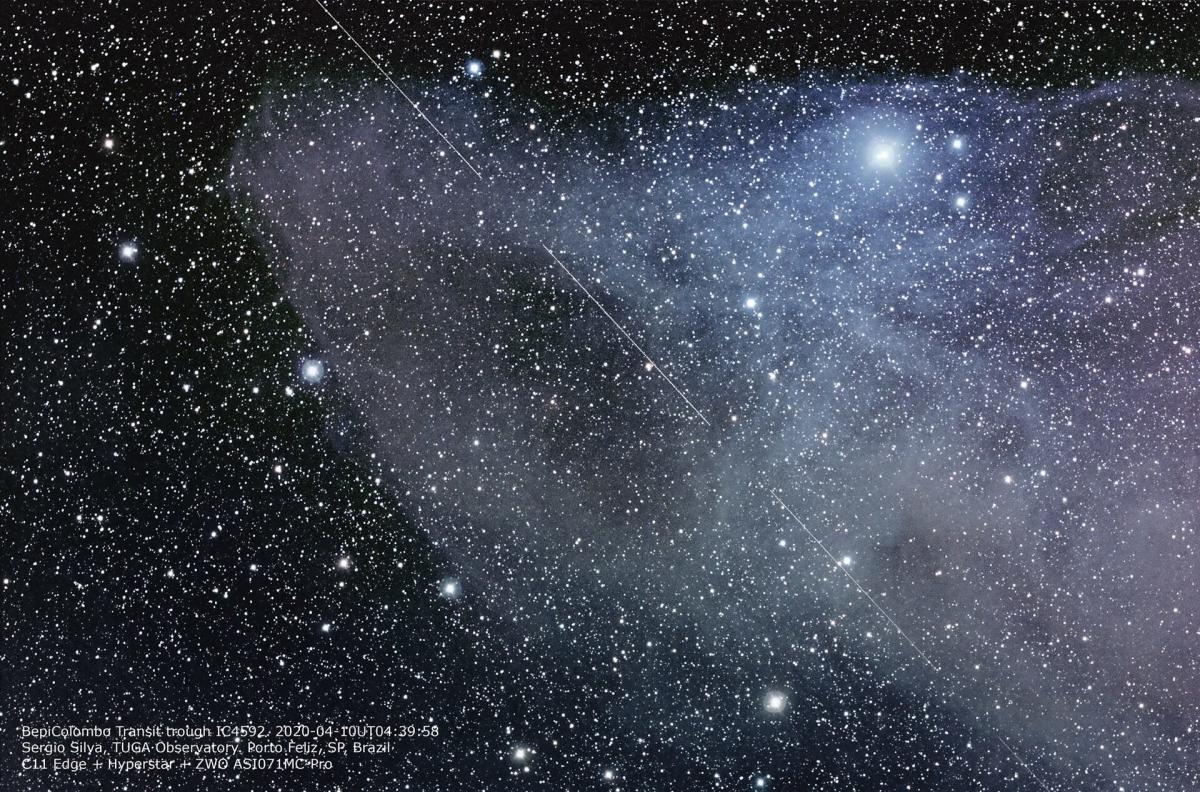 Transit de la sonde BepiColombo dans le ciel brésilien