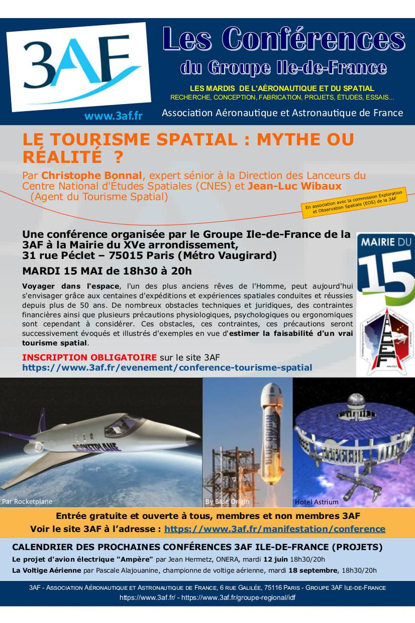 Conférence sur le tourisme spatial le 15 mai à Paris