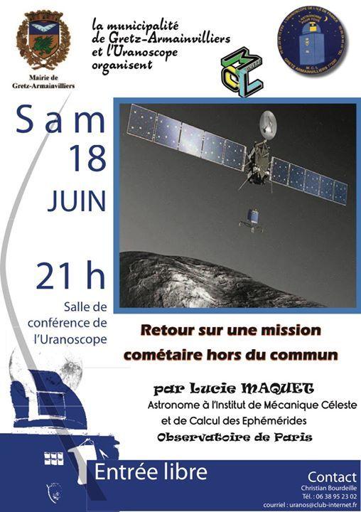 Conférence sur la mission Rosetta le 18 juin à l'Uranoscope de Gretz-Armainvilliers