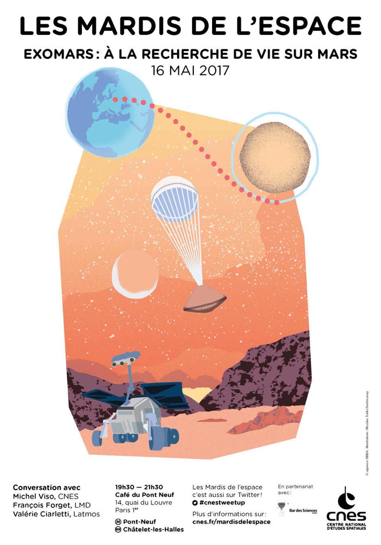 «ExoMars: à la recherche de vie sur Mars» mardi 16mai au Café du Pont Neuf