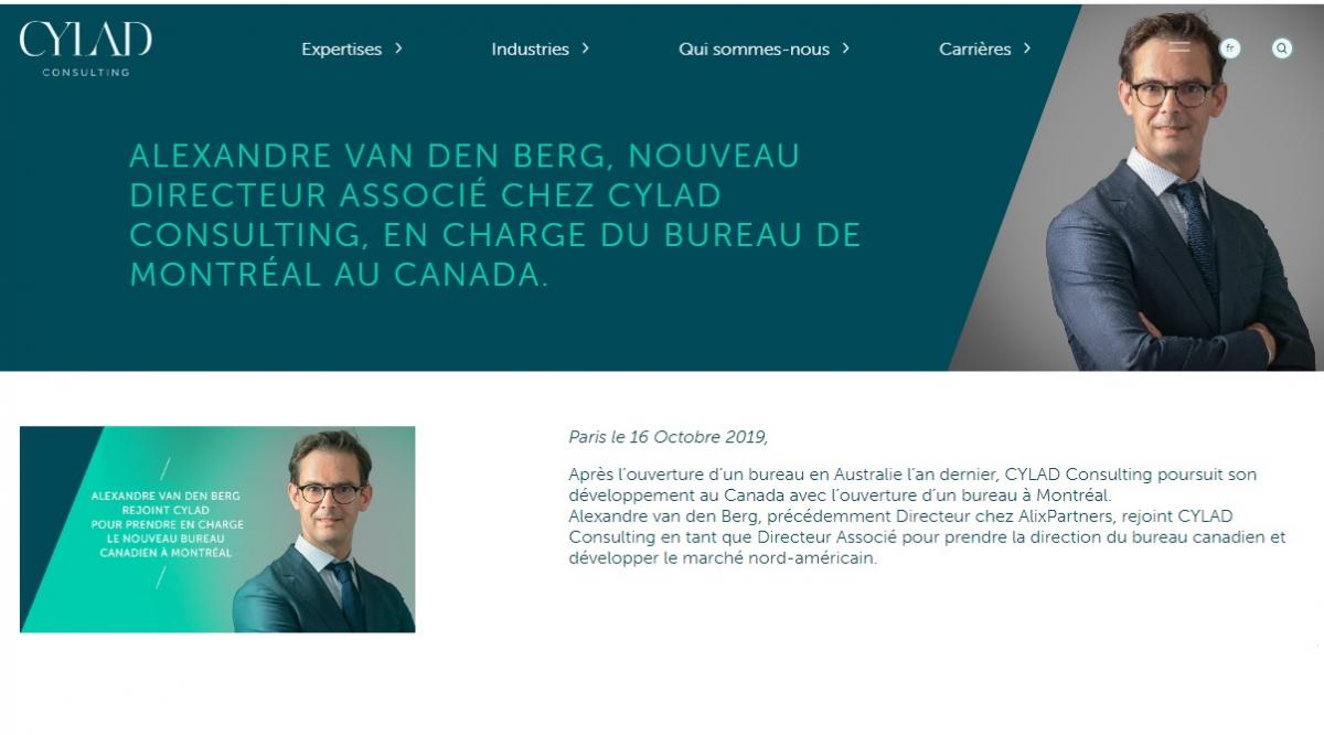 Alexandre van den Berg rejoint CYLAD Consulting en tant que Directeur Associé pour prendre la direction du bureau canadien