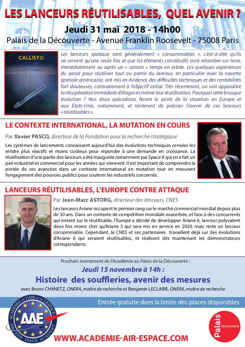 Conférences sur les lanceurs réutilisables le 31 mai à Paris