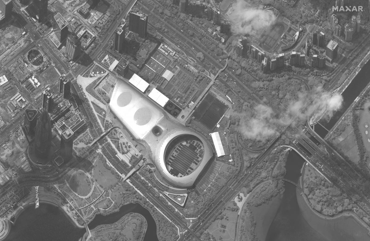 Des véhicules militaires chinois aperçus par satellite