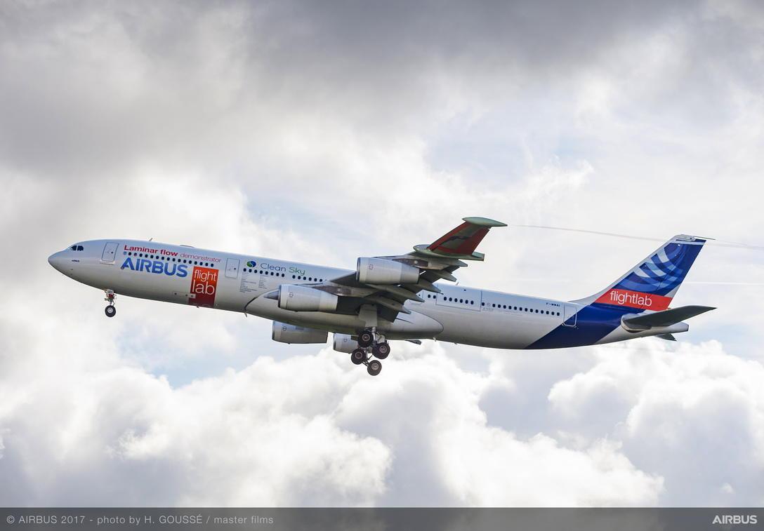 A340 laminar flow demonstrator makes first flight
