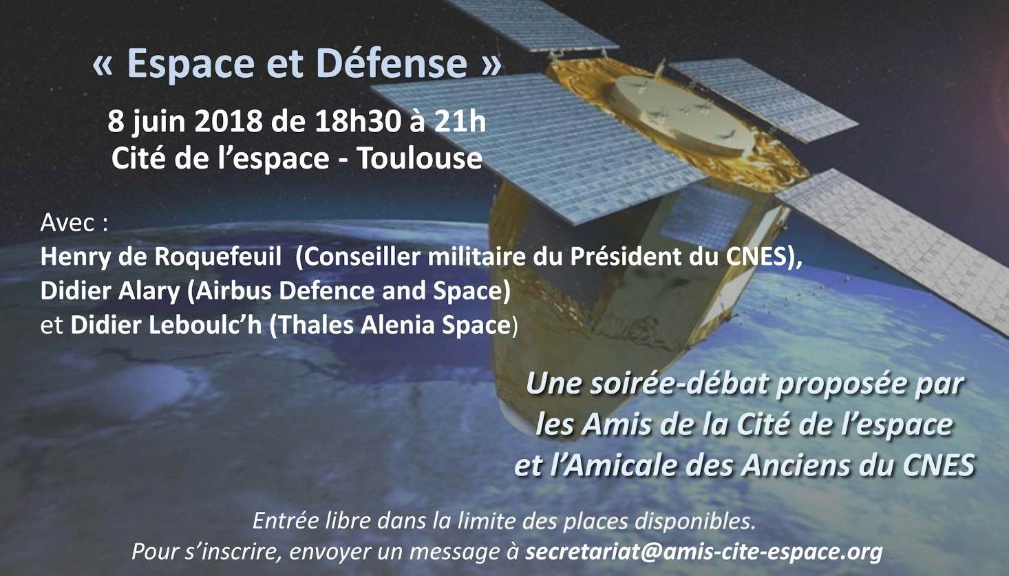 Conférence « Espace et Défense » le 8 juin à la Cité de l'espace de Toulouse