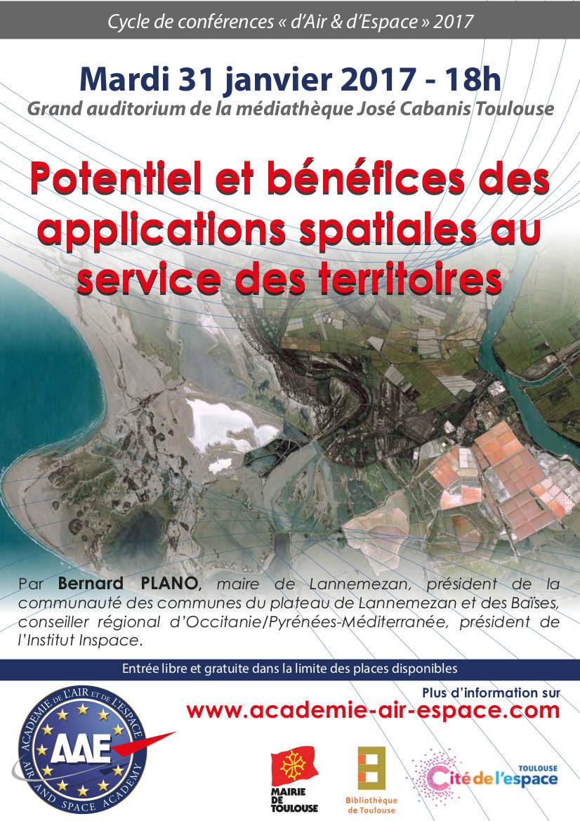 Conférence sur les applications spatiales le 31 janvier à Toulouse
