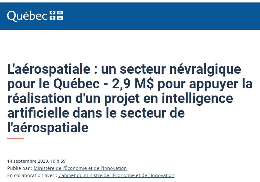 Québec, 2,9 M$ pour appuyer la réalisation d'un projet en intelligence artificielle dans le secteur de l'aérospatiale