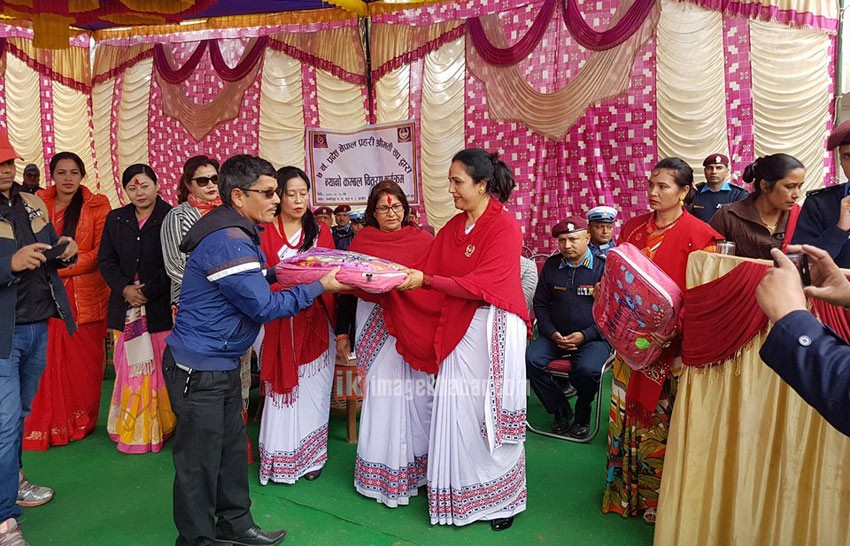 Nepal Police Wives Association provides blankets to 162 Badi families