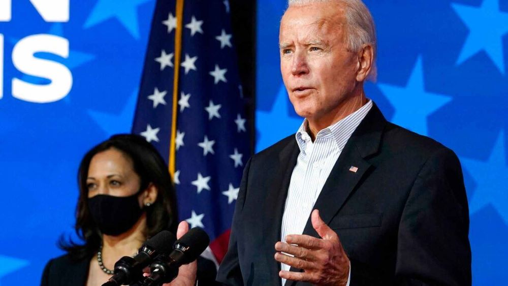 Joe biden us president candidate claim win and say people stay calm