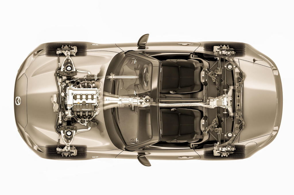 Content 2016 mazda mx 5 miata chassis top down view