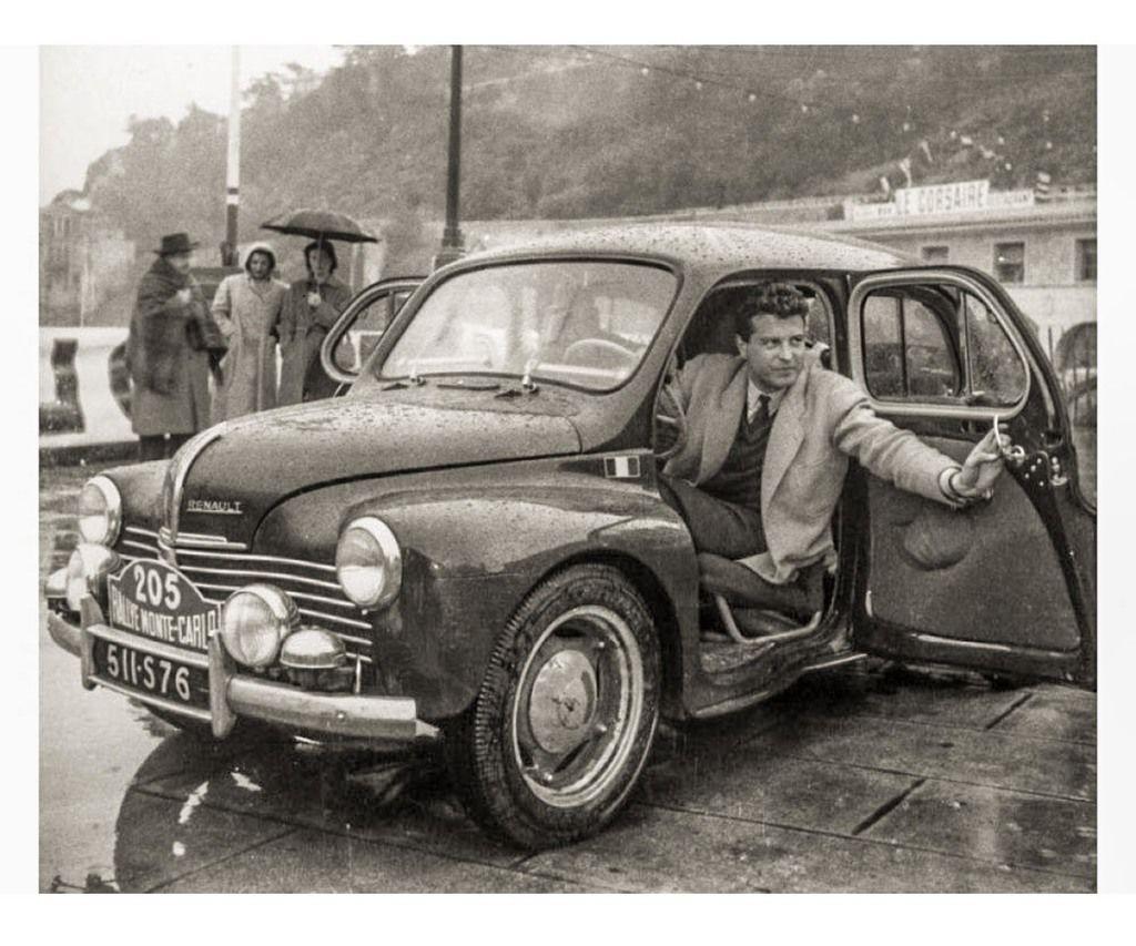 Content 1 jean redele au volant de sa renault 4 cv monte carlo 1951