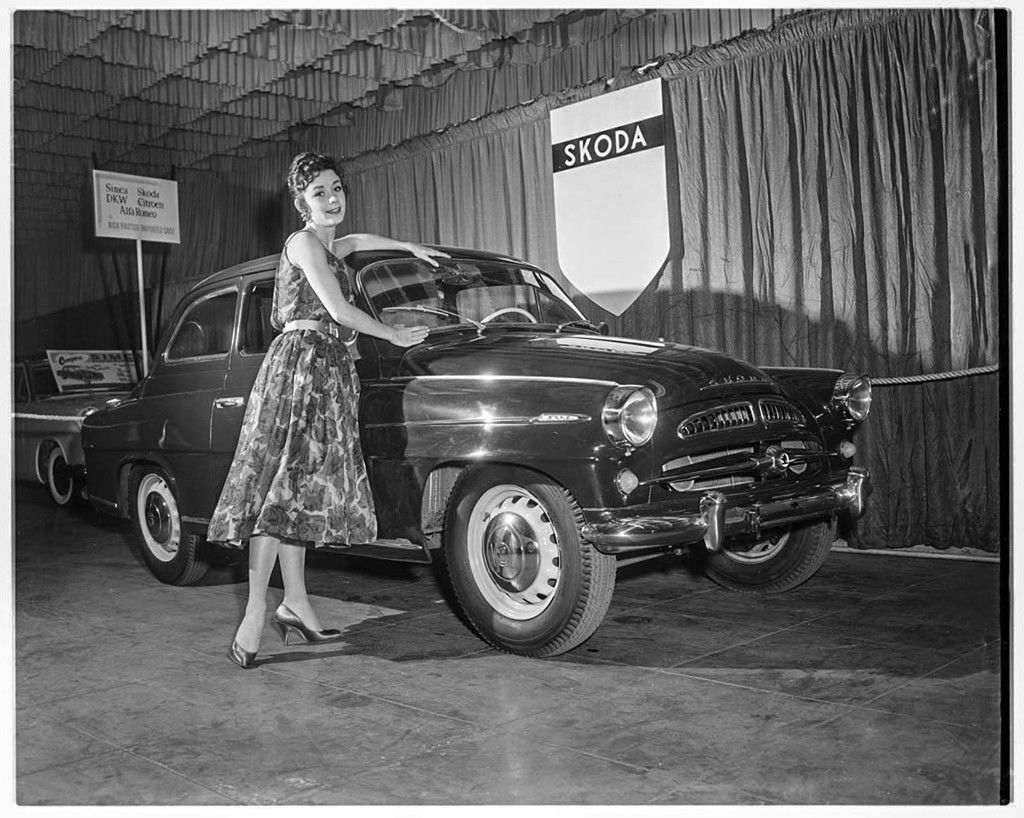 Content shari stennette  queen of show  poses with czech car  los angeles 1958
