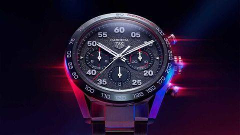 Thumb tag heuer carrera porsche chronograph watch