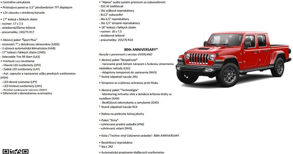 Content jeep gladiator vybavy