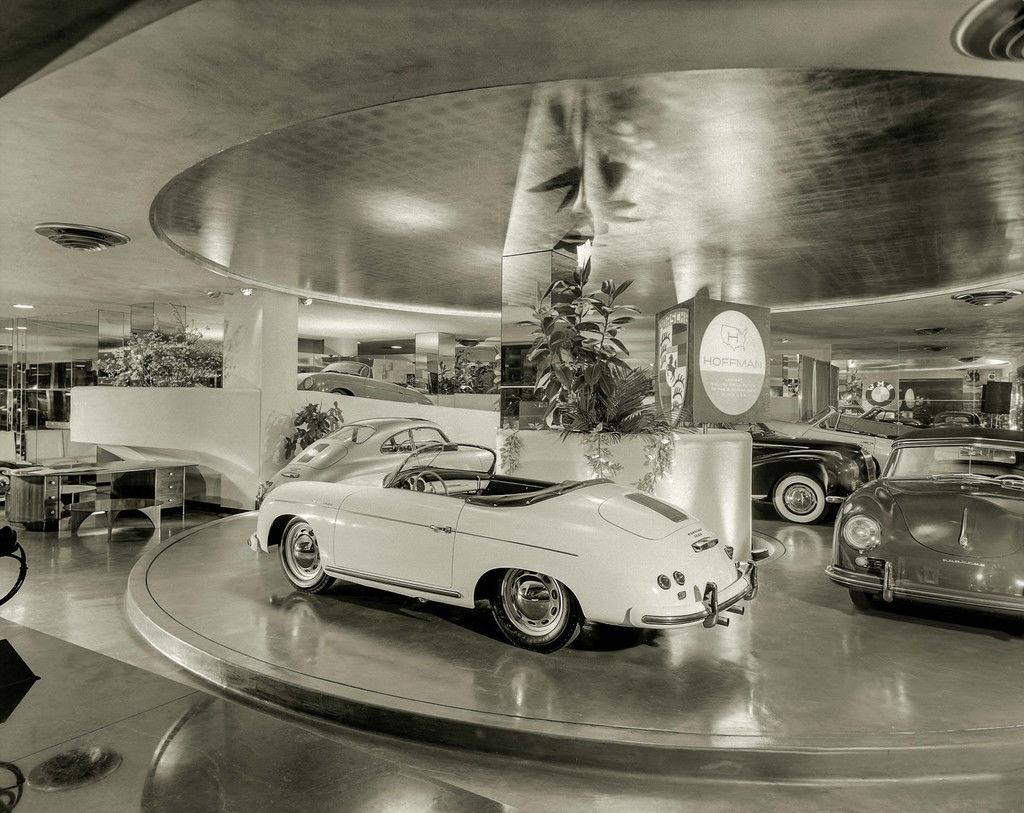 Content new york circa 1955. the max hoffman car showroom