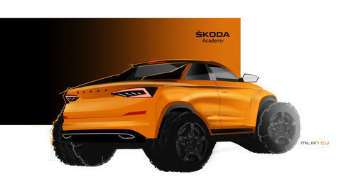 Thumb 190319 skoda student concept car will be a pickup version of the kodiaq sketch