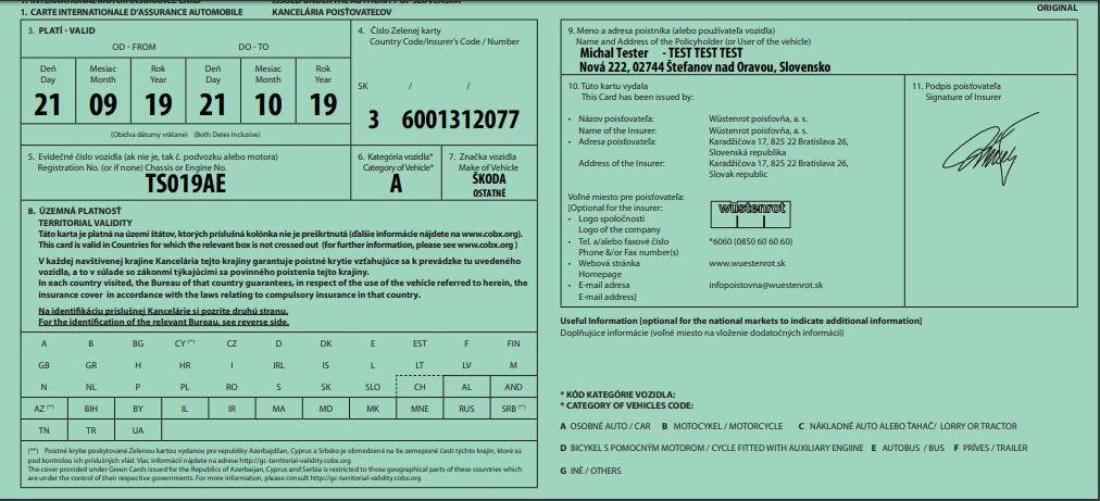 Zelená karta čierno-biela