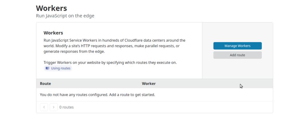 CloudFlare işçi ekranı