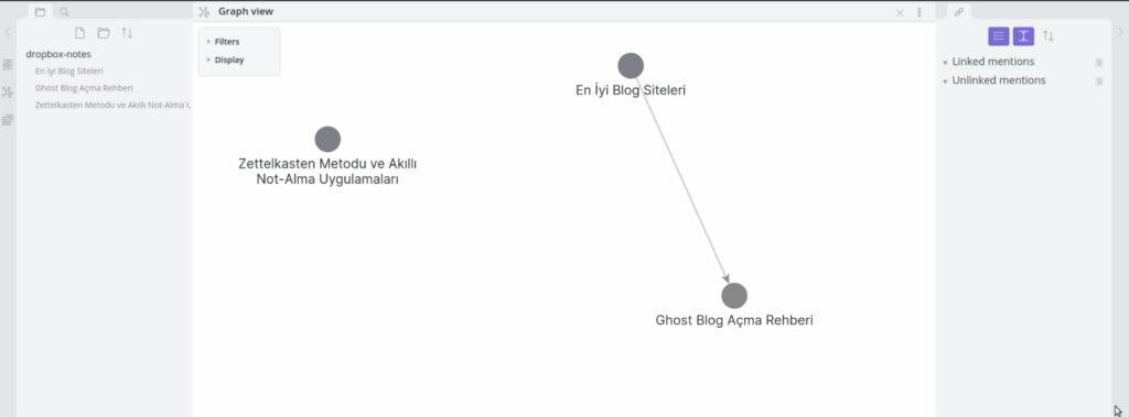 Obsidian Uygulamasında Backlinklerin Graph Map üzerinde gösterilmesi