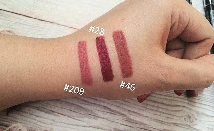Les plus cools des crayons pour les lèvres de la Provoc Semi-Permanent, Gel Lip Liner! La présentation de ces trois nuances #28, #46, #209. Montre, telles qu'elles apparaissent sur les lèvres et parle, quels sont les inconvénients de posséder!
