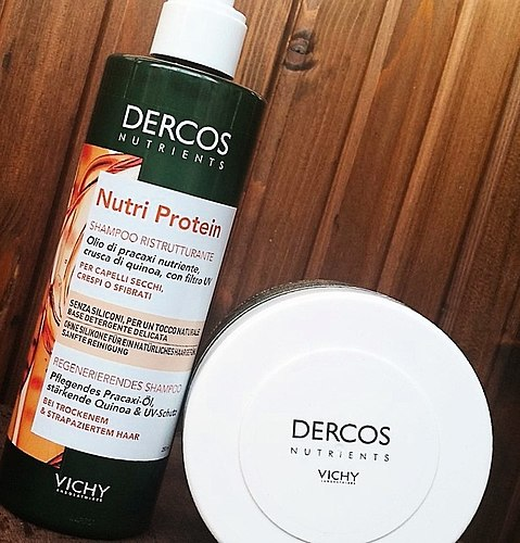Mild cleansing shampoo Vichy Dercos Nutri Nutrients Protein. In tandem with the mask the result is gorgeous