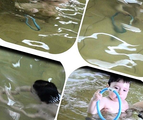 หนึ่งปีลูกสามารถอย่างง่ายดายมุงอยู่ใต้น้ำหรือตอนเป็นแหวนสำหรับดำน้ำดำช่วยให้พวกเราต้องโฟกัส!