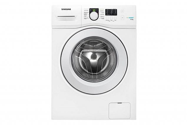 कपड़े धोने की मशीन सैमसंग WF60F1R0E2W सामने लोड हो रहा है, सफेद. समीक्षा