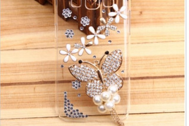 Бампер үшін смартфон Aliexpress New 3D butterfly handmade diamonds for finishing the cell phone skin hard case for Samsung Galaxy 2 G7106 G7102 Comments