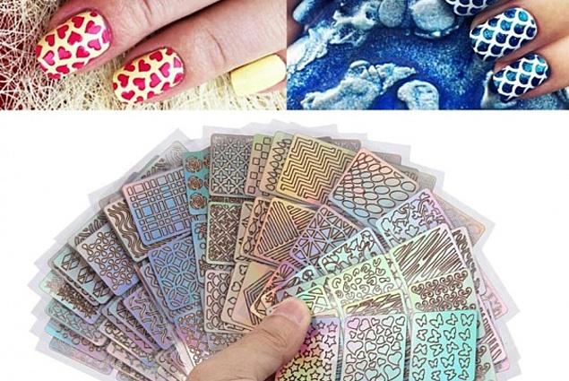 Şablonlar için manikür Aliexpress Tips/Sheet DIY Fashion Women Nail Vinyls Nail Art Manicure Stencil Stickers Stamp Template Decals Aracı Nice Yorumları
