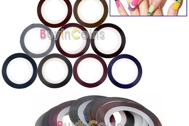ステッカーのためのネイルBuyincoins10色の自己粘着テープのためのマニキュア10色現象テープラインネイルアートを飾りステッカー レビュー