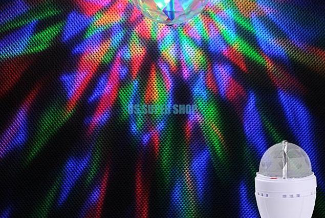 Aliexpress RGB 3W E27 Crystal Auto Oświetlenie sceniczne Efekt Żarówka LED Pełny kolor Mini Stage DJ Lampa Światło EB3625 Komentarze
