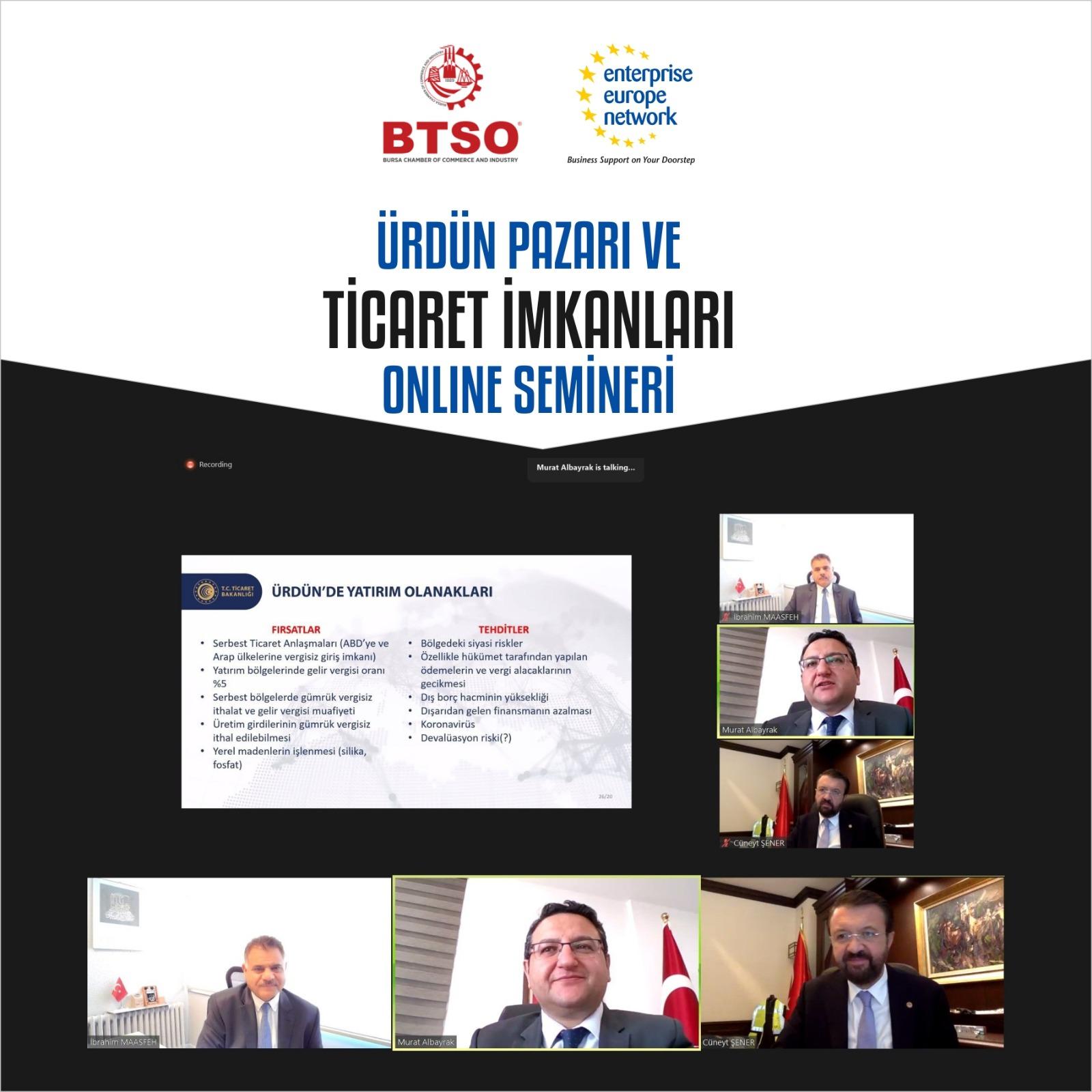 Ürdün Pazarı ve Ticaret İmkanları Online Semineri Düzenlendi