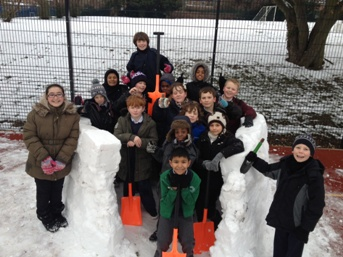 Proud of our snowman!