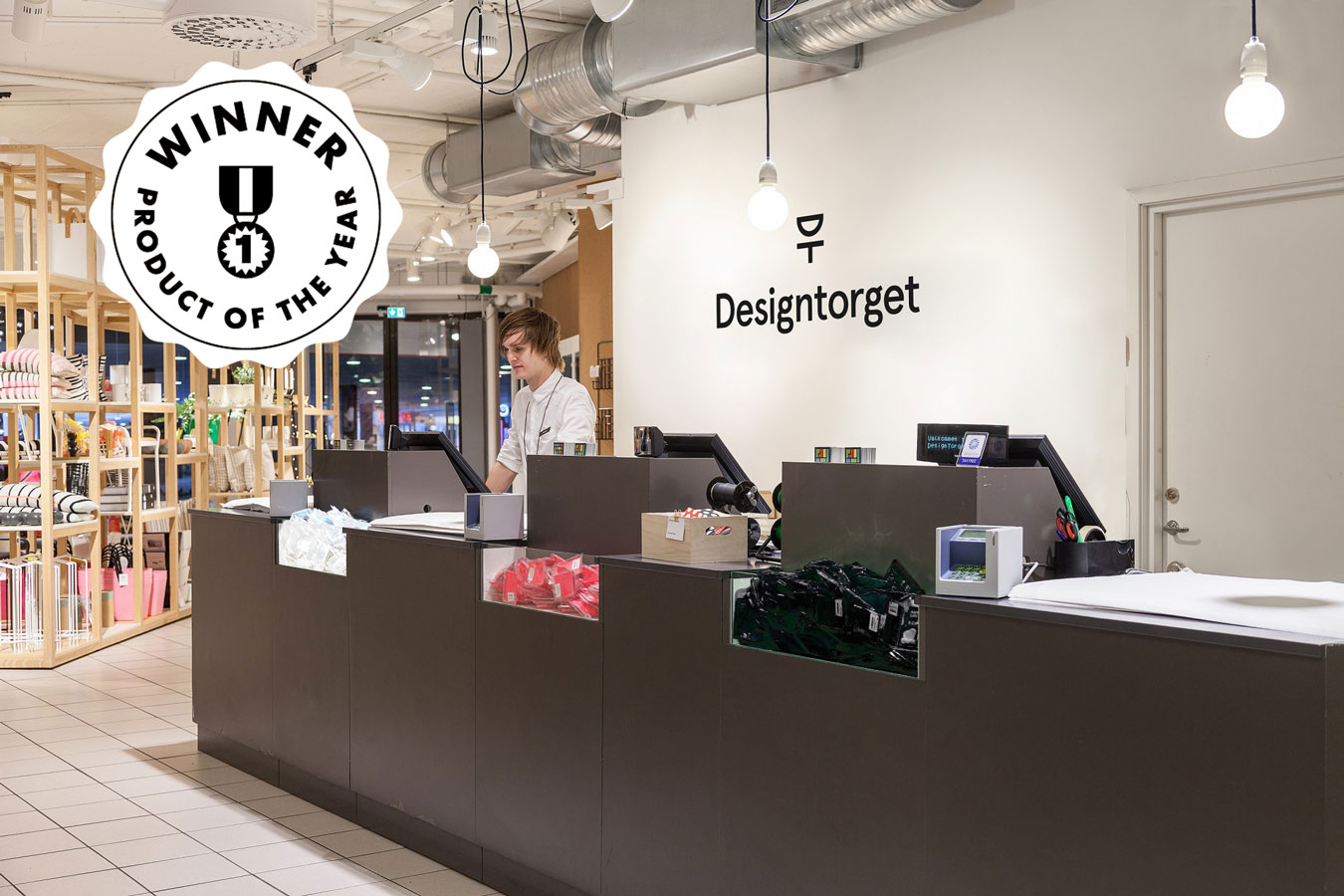 happy ears shown at the counter in designtorget store with a product of the year emblem