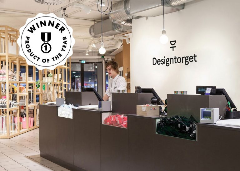 happy ears shown at the counter in designtorget store with an emblem saying winner of product of the year