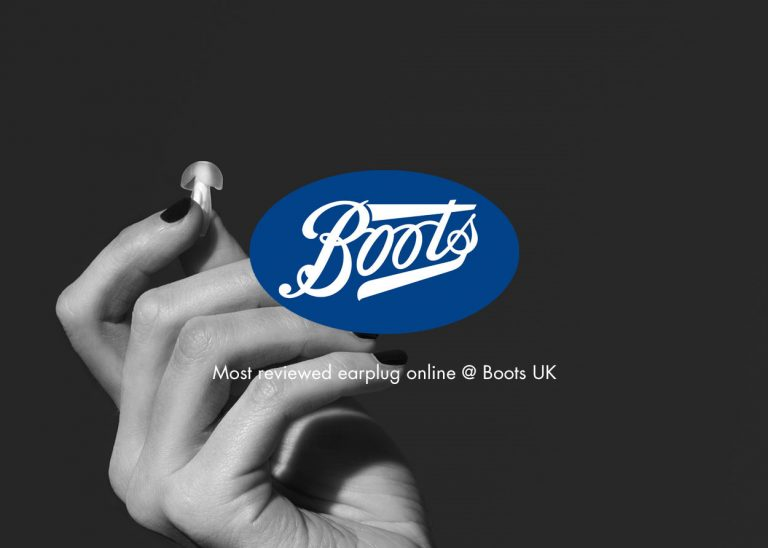 hand holding up happy ears earplug with boots logo in front