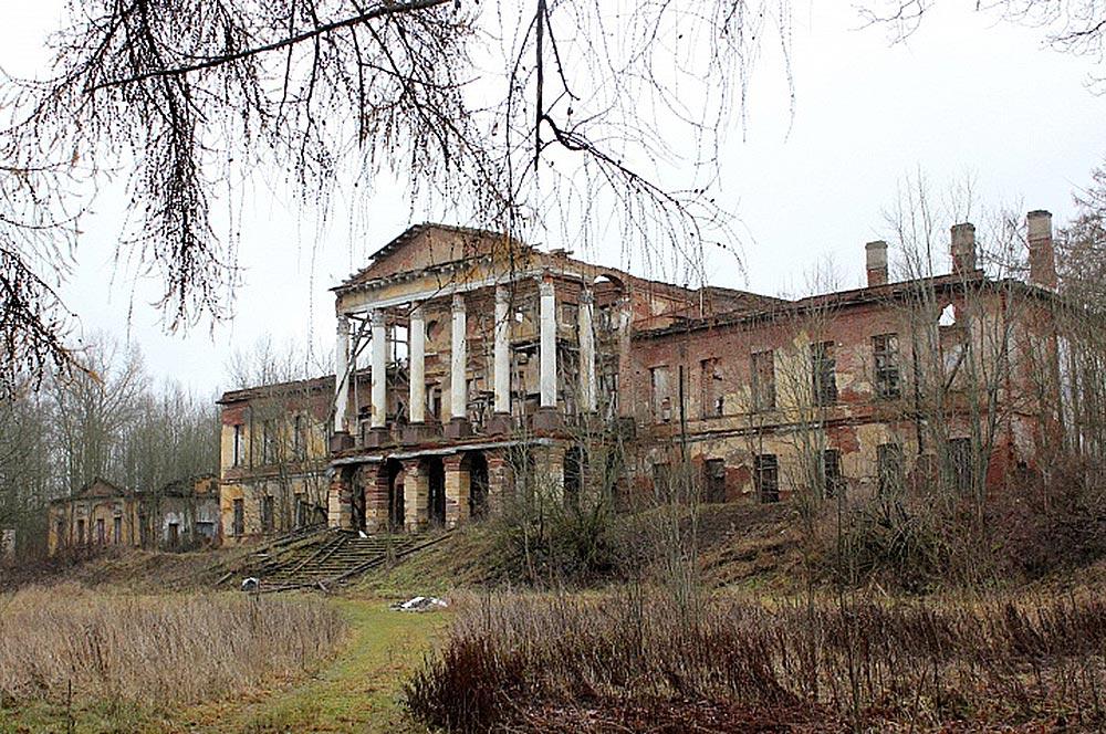 в полуразрушенном Ропшинском дворце
