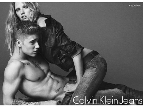 Джастин Бибер,  Лара Стоун  и тизер компании Calvin Klein Underwear