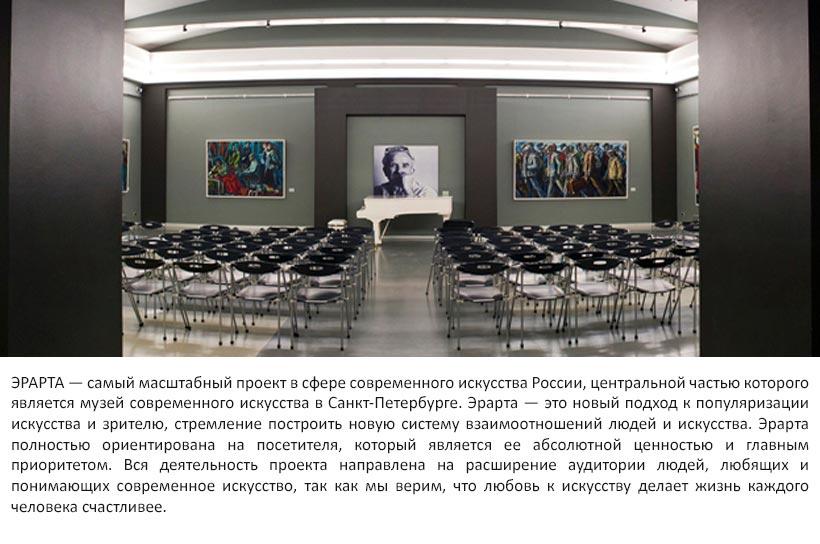 ЭРАРТА — самый масштабный проект в сфере современного искусства России, центральной частью которого является музей современного искусства в Санкт-Петербурге. Эрарта — это новый подход к популяризации искусства и зрителю, стремление построить новую систему взаимоотношений людей и искусства. Эрарта полностью ориентирована на посетителя, который является ее абсолютной ценностью и главным приоритетом. Вся деятельность проекта направлена на расширение аудитории людей, любящих и понимающих современное искусство, так как мы верим, что любовь к искусству делает жизнь каждого человека счастливее.